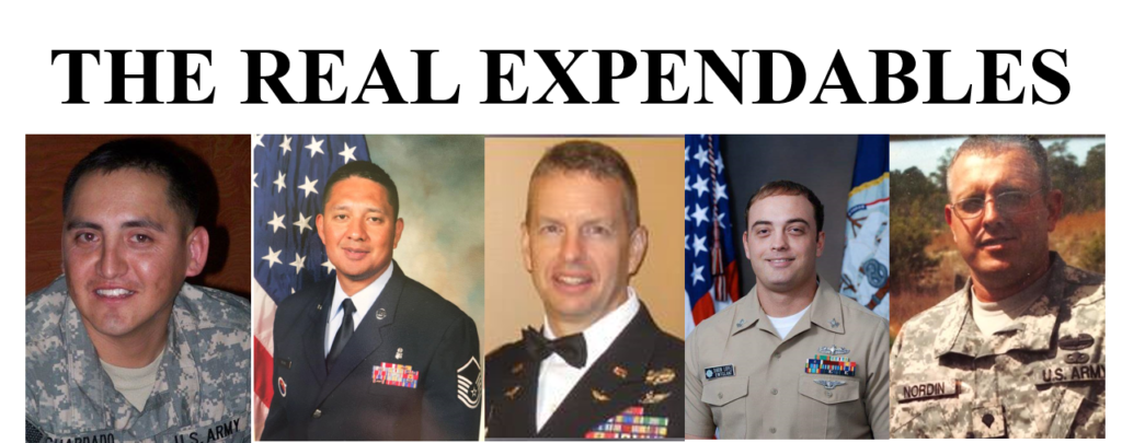 The Real Expendables: pictured left to right, MSG Alan S. Guardado, MSgt Michael Silva, MAJ Christian Martin, PO Darin Lopez, SPC Eric Lee Nordin